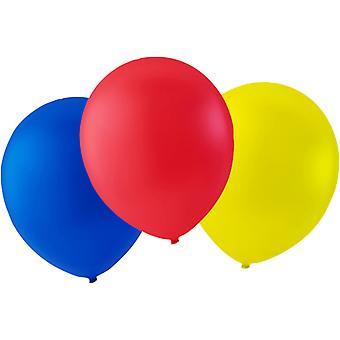 Ballonnen 24-pack blauw, rood en geel-30 cm (12