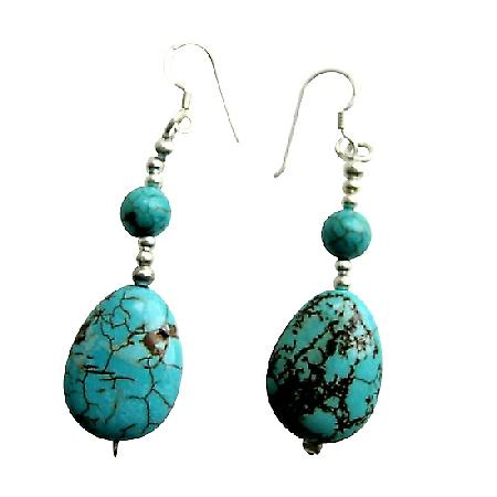 Handmade Turquoise Flat Oval Round Beads 92.5 Sterling Silver Earrings