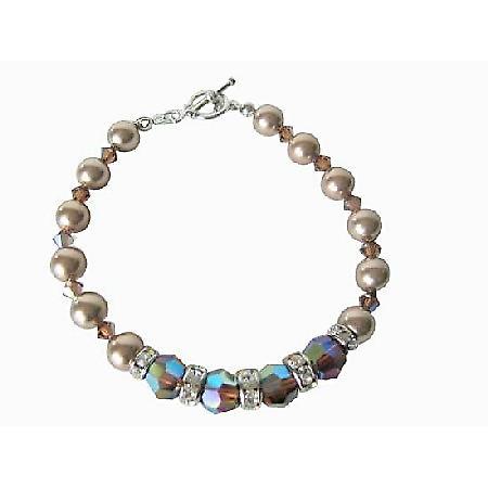 Bronze Pearl AB 2X Smoked Topaz Swarovski Pearl & Crystals Bracelet Bridal FlowerGirl Bridemaids Bracelet