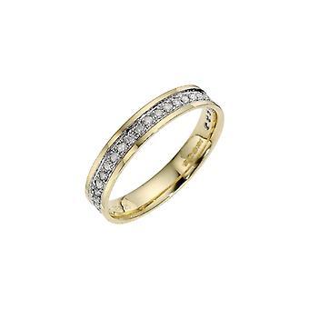 Stjärniga vigselringar 9ct Yellow Gold med Rhodium Accent 0,25 Carat Diamond Eternity 3,5 mm vigselring
