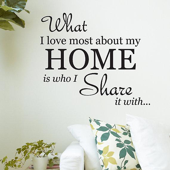 What I love most about my home is who I share it with Wall Quote