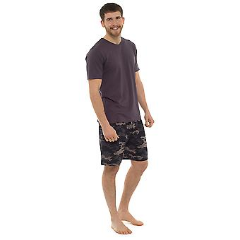 Tom Franks Mens V Neck Printed Short Pyjama Set