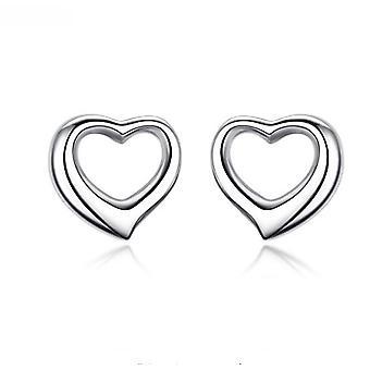 925 Sterling Silver Solid Open Heart Stud Earrings