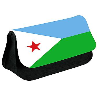 Djibouti Flag Printed Design Pencil Case for Stationary/Cosmetic - 0048 (Black) by i-Tronixs