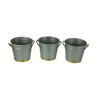 Galvanized and Brass Finish 2 Quart Metal Bucket Planters Set of 3