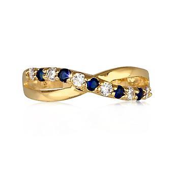 Twisted guldpläterad ring med syntetisk safir och zirkonium kubik