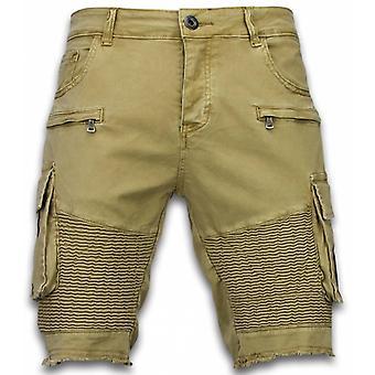 Men's Shorts-Slim Fit Biker Pocket Jeans-Beige