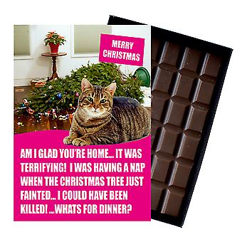 Tabby Cat Christmas Gifts Funny Xmas Presents for Cat Lovers Boxed Chocolate Greeting Card