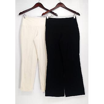 Women with Control Petite Pants XS Both Wide Waistband Pull-on White/Black