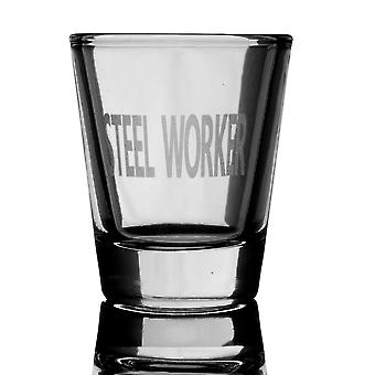 2oz steel worker engraved shot glass