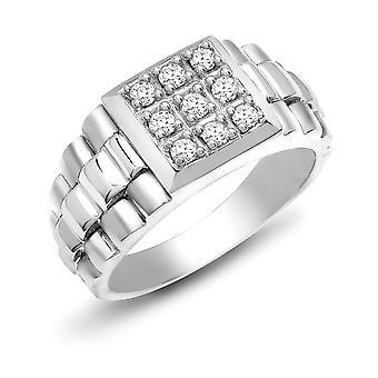Jewelco London Men's Solid 9ct White Gold 4 Claw Set Round H I1 0.5ct Diamond 9 Stone Cluster Signet Ring 12mm