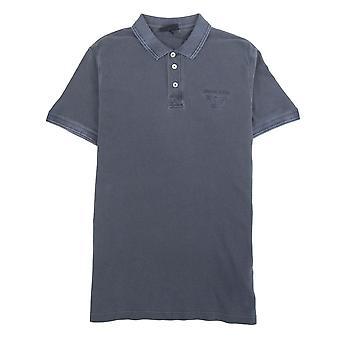 Armani Jeans Eagle Logo Garment Dyed Polo Shirt Dark Grey