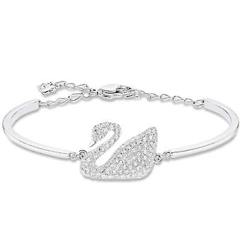 Swarovski Swan rigid bracelet - white - rhodio plating