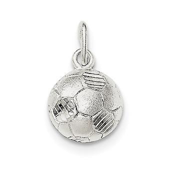 925 Sterling Silber Satin öffnen zurück strukturierte zurück Sparkle-Cut Fußball Ball Charme - 1,1 Gramm