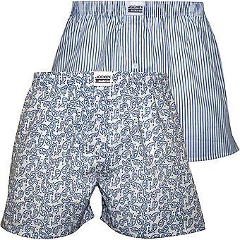 Jockey 2-Pack Stripes & Paisley Woven Boxer Shorts, Blue/White