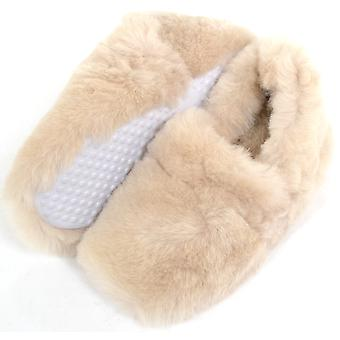 Ladies / Womens Luxury Fluffy Slip On Sheepskin Slippers - Beige - UK 4