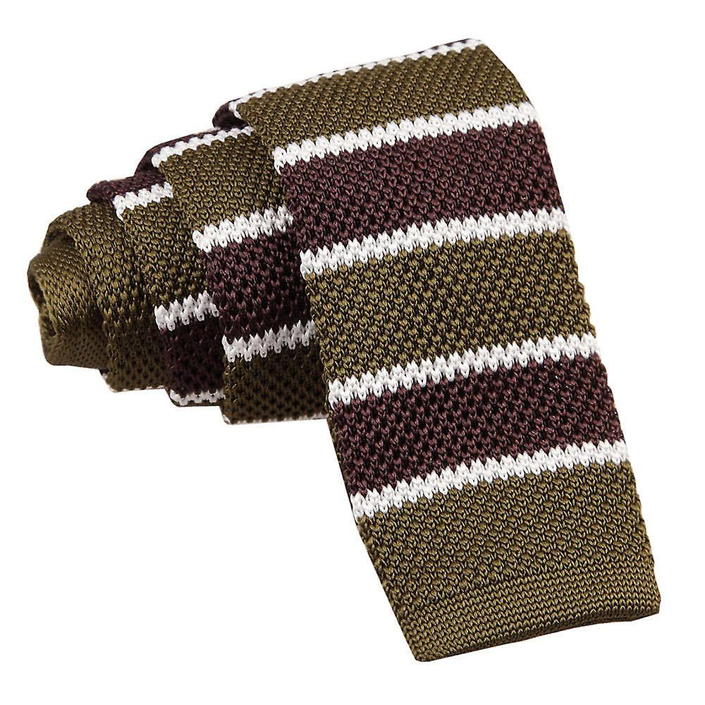 Knitted Olive Green Brown with White Thin Stripe Tie