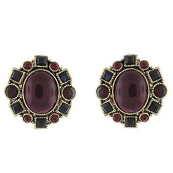 Clip On Earrings Store Gold  and  Burgundy Bead and Crystal Vintage Clip on Earr