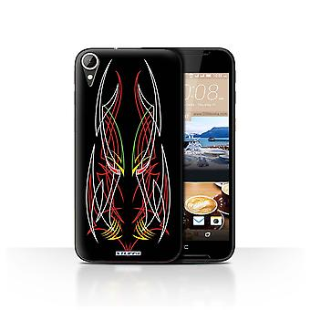 STUFF4 Case/Cover for HTC Desire 830/Red/White/Tribal Pinstripe