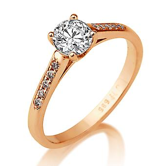 Beautiful 0.35ct White Sapphire and Diamonds Ring Rose Gold 14K Promise
