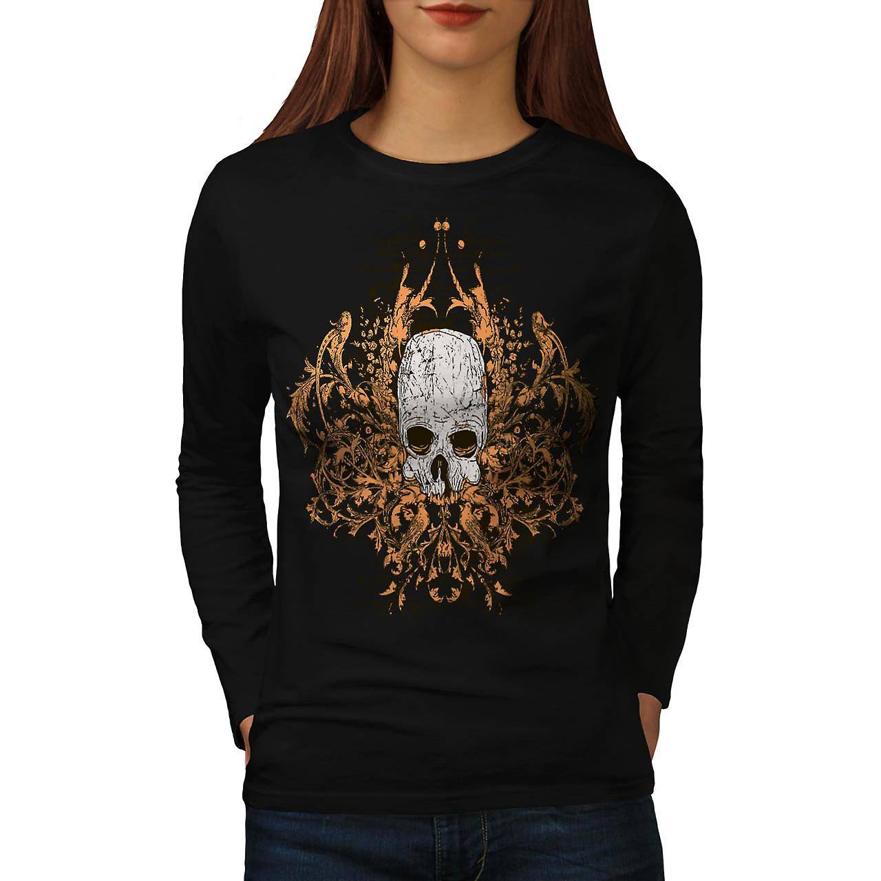Monster Horror Skull Ghost Story Women Black Long Sleeve T-shirt | Wellcoda