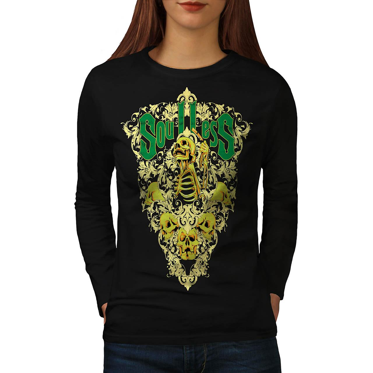 Soul Less Death Skull Grave Yard Women Black Long Sleeve T-shirt | Wellcoda