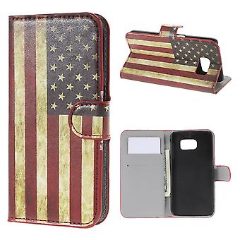 Cover flag USES in PU skin for Samsung Galaxy S6