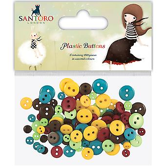 Santoro Kori Kumi Plastic Buttons 100/Pkg-Assorted Colors SKKBTN1