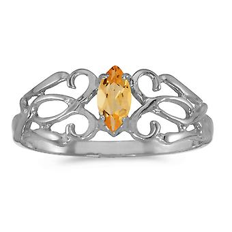 10 k Weißgold Marquise Citrin Filagree Ring