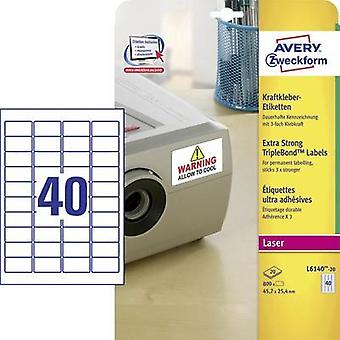 Avery-Zweckform L6140-20 Labels (A4) 45.7 x 25.4 mm Polyester film White 800 pc(s) Permanent Adhesive labels (extra stro