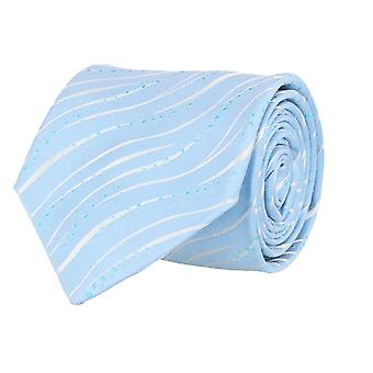 Marcell Sanders mens tie classic silk silk tie blue white wave pattern 8 cm