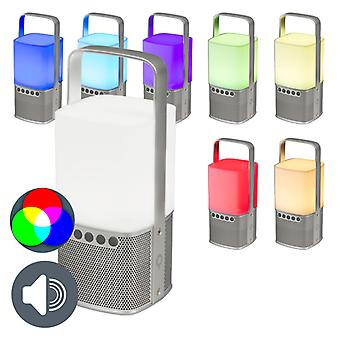 QAZQA Bluetooth Speaker RGB LED Silver with Charger