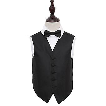 Boy's Black Greek Key Patterned Wedding Waistcoat & Bow Tie Set