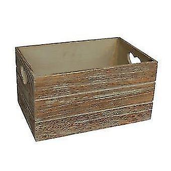 Small Oak Effect Heart Cut Handle Wooden Storage Crate