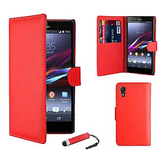 Book Wallet Leather Case + stylus for Sony Xperia Z1 Compact (Z1F) - Red