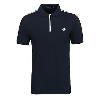Fred Perry Navy Taped Zip Neck Polo Shirt