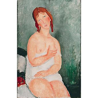Amedeo Modigliani - Young Woman in a Shirt 1918 Poster Print Giclee
