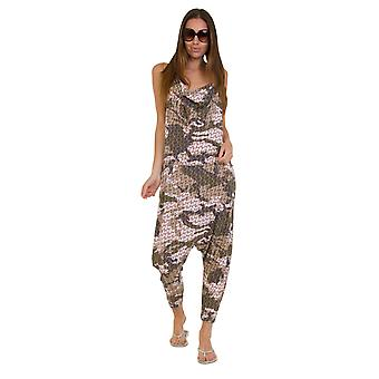Jersey Jumpsuit - Geo Green Drop Crotch Lightweight Stretch Relaxed Fit Playsuit