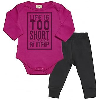 Spoilt Rotten Life Too Short For Naps Babygrow & Jersey Trousers Outfit Set