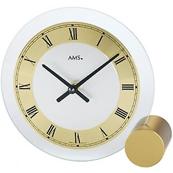 Table clock white brass painted metal base mineral glass AMS