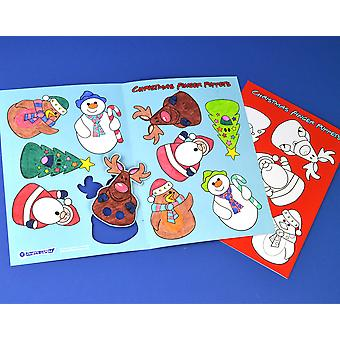 SALE - 10 Colour In Christmas Finger Puppets - Kids Activity