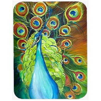 Carolines Treasures  JMK1150LCB Bling Peacock Glass Cutting Board Large