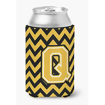 Letter Q Chevron Black and Gold Can or Bottle Hugger