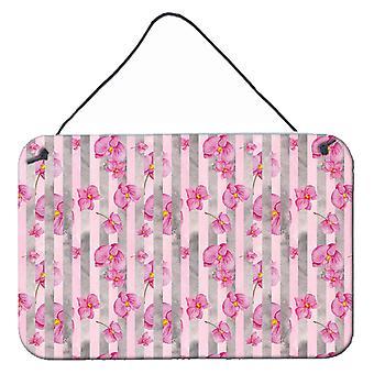 水彩のピンク花グレー ストライプの壁やプリントにぶら下がってドア