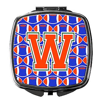 Letter W Football Green, Blue and Orange Compact Mirror