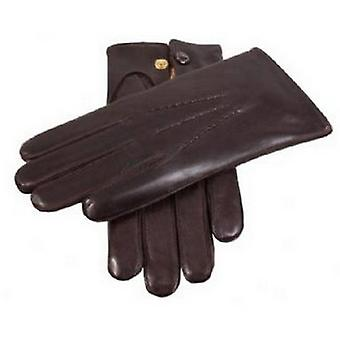 Dents Rabbit Fur Lined Leather Gloves - Brown
