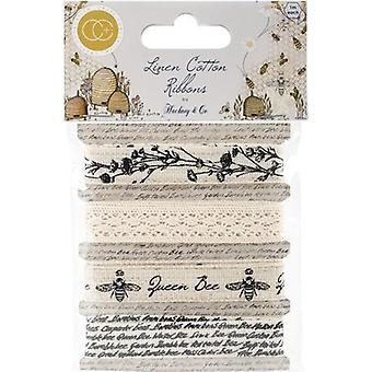 Craft Consortium Tell The Bees Cotton Linen Ribbon 4/Pkg-4 Designs/1m Each CHRBN001
