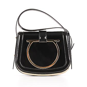 Salvatore Ferragamo women's 0644655 black leather shoulder bag