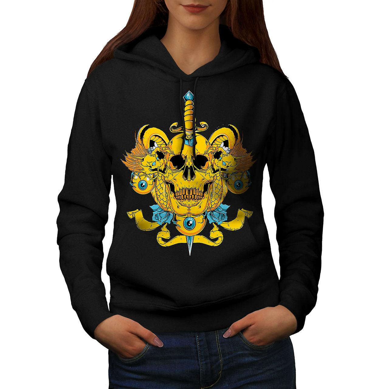 Death Eye Rose Art Skull Women Black Hoodie | Wellcoda