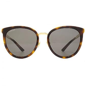 Gucci Peaked Round Sunglasses In Havana Gold